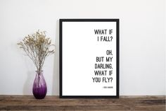 Excited to share the latest addition to my #etsy shop: What If I Fall Erin Hanson Wall Art, Modern Art Print, Typography Print, Scandinavian Art, Minimalist Print, Literary Print, Literary Quote https://etsy.me/2Inngm8 #art #printmaking #letterpress #white #black