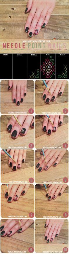 Needle point nail art tutorial. #Nails #NailArt #DIY