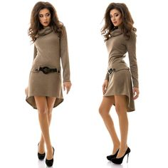 Stylish ladies beige angora A-line midi dress #angora #dress