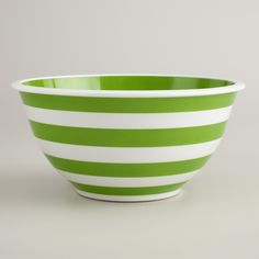 Green and White Striped Mixing Bowl | World Market
