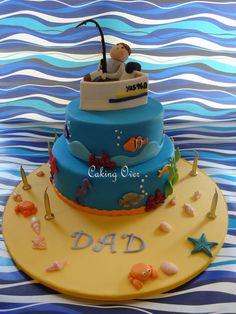 Fishing themed cake   {white chocolate mud with blueberry swirl}