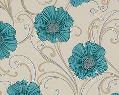 As-Creation Chicago tapéta Liberty Wallpaper, Turquoise Flowers, Planner Pages, Flower Wallpaper, Chicago, Tapestry, Decor Ideas, Big Flowers, Blue Green