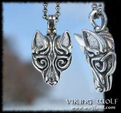 VIKING WOLF HEAD, silver pendant by Wulflund, Ag 925