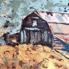 "Daily Paintworks - ""Barn with Palette knife"" - Original Fine Art for Sale - © Susan Elizabeth Jones"