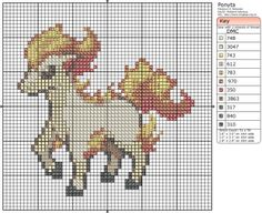 Pokémon – Ponyta 50x50 - 60x60, Birdie's Patterns, Gaming, M - P, Pokémon…