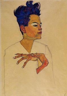 Egon Schiele  Autoportrait aux mains posées, 1910  Fusain, aquarelle et gouache sur papier, 44 x 31 cm  Collection privée.