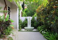 small round fountain for backyard landscaping