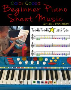 Color Coded Beginner Piano Sheet Music, great for Toddlers and Preschool, includes FREE printables - projectsinparenting.com
