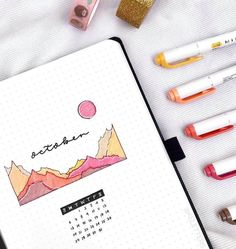 Minimalistic October bullet journal cover by @keletters.