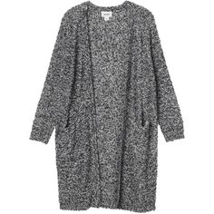 Monki Zosia knitted cardigan (4.715 HUF) ❤ liked on Polyvore featuring tops, cardigans, outerwear, jackets, grey cloud melange, long gray cardigan, gray top, grey cardigan, relaxed fit tops and long grey cardigan