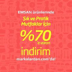 """Şık ve pratik mutfaklar için """"Emsan Ürünlerinde"""" %70'e varan indirim fırsatı Türkiye'nin en marka online alışveriş sitesi markalardan.com'da! Üstelik 100 TL ve üzeri alışverişlerde kargo BEDAVA! #emsan #indirim #fırsat #mutfak"""