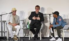 Looking in full health: Elton took to the stage alongside Bernie and Spike Lee to discuss ...