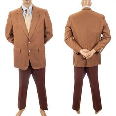 Vtg Leisure Suit HSM Textured Silk Retro Sport Coat Mens 43R Jacket Pants Brown #MensSuit #SomeLikeItUsed