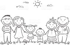 Happy cartoon famile with two children and grandparents royalty-free happy cartoon famile with two children and grandparents stock vector art & more images of adult Family Drawing, Drawing For Kids, Art For Kids, Doodle Drawings, Easy Drawings, Doodle Art, Stick Figure Family, Stick Family, Happy Cartoon
