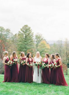 Romantic Burgundy Bridesmaids Dresses | Intimate Fall wedding in Asheville, North Carolina with the cutest pup! | Asheville Real Weddings - Photographer: MCSWEEN PHOTOGRAPHY | Magnolia Rouge: Fine Art Wedding Blog | Fall Wedding | Intimate Wedding | Romantic Wedding Photos | Bridesmaids Bridesmaid Inspiration, Wedding Inspiration, Intimate Weddings, Real Weddings, Burgundy Bridesmaid Dresses, Bridesmaids, Romantic Wedding Photos, Autumn Wedding, Wedding Venues