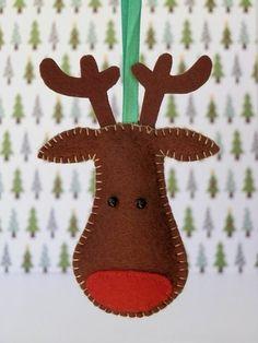 Reindeer Felt Christmas Tree Ornament  Rudolph by LollybrightToys, $7.00