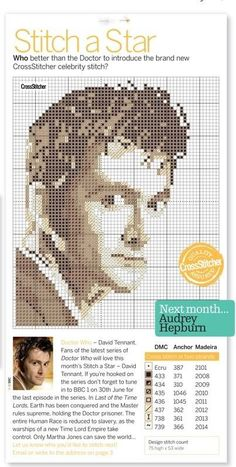 David Tennant cross-stitch, ladies and gentlemen. I think I've reached the end of the internet.