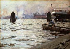 """Anders Zorn """"I Hamburgs hamn"""" (1891). Akvarell 30 x 45 cm. Zornsamlingarna, Mora."""