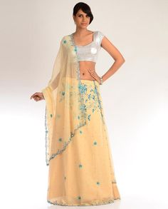 Peach Yellow Lengha Set with Floral Embroidery in Blue