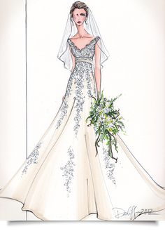 Brilliant Gift for the Bride. Artist Rendering of your Dress!