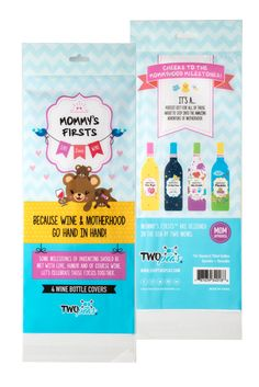 The PERFECT baby shower, new Mom & 2nd time Mom gift!   Mommy's Firsts Wine Bottle Covers are an extraordinarily fun gift that celebrates some of motherhood's milestone moments during the first year with baby.  You've accomplished two types of milestones - baby's and yours. Lets celebrate!  Each delightfully designed package includes 4 re-usable, spandex blend, adorable wine bottle covers that fit easily over all standard size 750ml bottles.  Free shipping! www.shoptwopeas.com