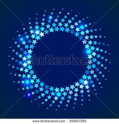 Abstract holiday  background Blue shining round frame with stars in the disco style - Shutterstock