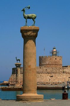 Rhodes - Entrance to Rhodes Harbor in the Aegean Sea, Greece by okbends