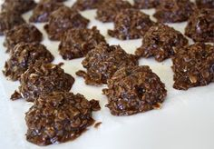 Chocolate No-Bake Cookies 1/2 c (1 stick) butter 2 c white sugar 1/2 c milk 3 T cocoa 3 c quick cooking oats 2/3 c peanut butter 1 t vanilla Bring butter, sugar, milk, and cocoa to a rolling boil for one minute. Remove from heat. Add peanut butter, vanilla, and oats. Stir well and drop spoonfuls onto waxed paper. #cookies #cook #recipes #cake