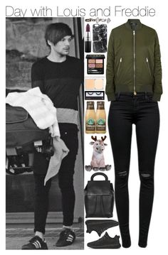 """Day with Louis and Freddie"" by mrspayne-1d ❤ liked on Polyvore featuring J Brand, Topshop, adidas Originals, MAC Cosmetics, maurices, Casetify, Disney, Gucci, RMK and BBrowBar"