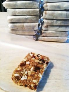 homemade cliff bars- love before running- tired of buying these things, glad that I made! Super easy and taste great! So easy to change the ingredients up every time too.