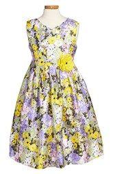 Pippa & Julie Floral Print Sleeveless Shantung Dress (Big Girls)