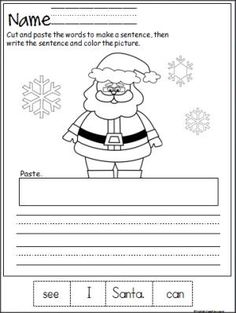 Free Santa cut, paste, and write the sentence printable page. Terrific winter activity for beginning readers and writers in Kindergarten and 1st grade.