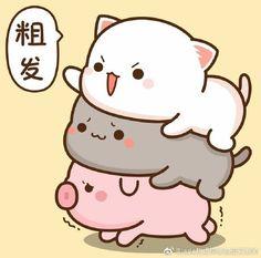 Cute Animal Drawings Kawaii, Kawaii Art, Kawaii Drawings, Cute Drawings, Mochi, Best Friends Shoot, Kitten Cartoon, Chibi Cat, Cute Cartoon Pictures