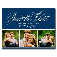 """Custom vintage style dark navy / indigo blue & ivory / ecru wedding save the date postcards feature """"Save the Date"""" in an elegant handwritten calligraphy script typestyle, three spaces for engagement photos (tip: crop to square shape prior to uploading), and text that can be personalized with wedding information."""