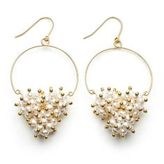 Gold-Plated Sterling Silver Half Hoop Dangle Earrings with Clustered Wire-Wrapped White Freshwater Pearls and Gold-Plated Beads Joy De Mer. $600.00