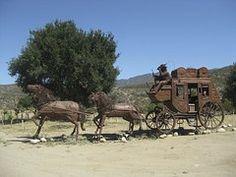 Horses, Rider, Wagon, Statue, Equestrian