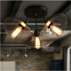 Aliexpress.com : Buy Vintage  American Country bar iron ceiling lights 3 Heads Clear Glass E27 Edison bulb hallway ceiling lamp N1190 from Reliable lamp package suppliers on Light up future co.,Ltd    Alibaba Group