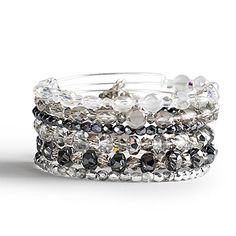 Alex and Ani Let it Glow Set of 6 Expandable Wire Bangles Russian Silver - Glitz and Garland Collection