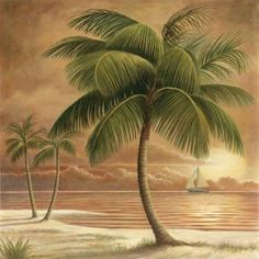 6 Tropical Palm Tree Art Prints Beachy Feel Home Decor - Beachfront Decor Palm Tree Art, Palm Tree Sunset, Palm Trees, Palm Tree Island, Palm Tree Decorations, Tropical Bedrooms, Tropical Bathroom, Sunset Images, Cross Stitch Tree