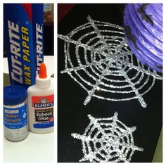 My DIY: Made sparkly spider webs using wax paper, glue and glitter.  Thanks for the idea @REDBOOK Magazine
