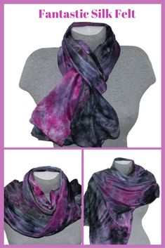 The silk scarf is perfect for year round wear and makes a great luxury gift for someone you love or a much-deserved treat for yourself!  This method of dyeing enables the colors to creep and flow throughout the silk-giving each piece a wonderful watercolor effect. The dyes flow into each other, creating a complex variety of color gradations. #silkscarf #mothersday  #giftforher