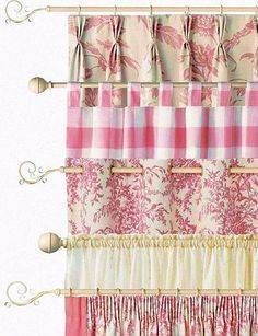 DIY Window Treatments and rustic window treatments for large windows. Cute Curtains, Curtains And Draperies, Country Curtains, Valances, Hanging Curtains, Window Coverings, Window Treatments, Valance Patterns, House Windows