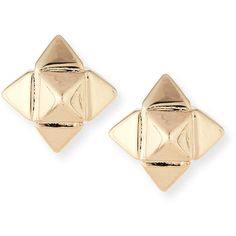 Valentino Bronze Rockstud Earrings (16,375 INR) ❤ liked on Polyvore featuring jewelry, earrings, gold, jewelry earrings stud, studded jewelry, golden earring, golden stud earrings, valentino jewelry and post back earring