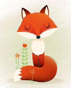 Bellasecretgarden - (via Arte de vivero, impresión de Fox, Ilustración de los niños, vivero forestal, arte para niños, bebé impresiones, regalo de bebé nuevo, arte de la pared, decorac…)