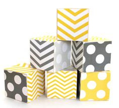 JUMBO Gray and Yellow Chevron and Polka Dot Wood Toy Blocks modern zig zag nursery decor. $36.00, via Etsy.