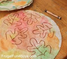 Craft for Kids: Welcome Fall Sign with Coffee Filter Leaves  Paint with water colors, dry for   30 minutes, draw leaves and cut