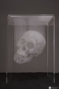 Suspended Bead Skull Sculpture by Li Qing