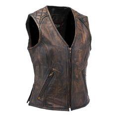 Women's Vintage Brown Quilt Shoulder Leather Gun Vest #VLA6864QGN ($105) ❤ liked on Polyvore featuring outerwear, vests, leather vests, vintage leather vest, brown vest, genuine leather vest and brown leather waistcoat