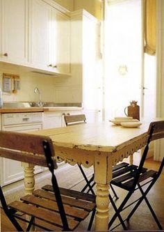 yellow scalloped farmhouse table
