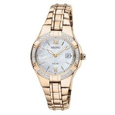 Seiko® Solar Ladies' Gold-Tone Watch in Stainless Steel, available at #HelzbergDiamonds